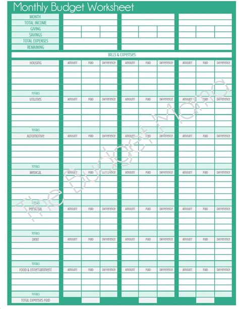 pictures blank budget worksheet printable dropwin
