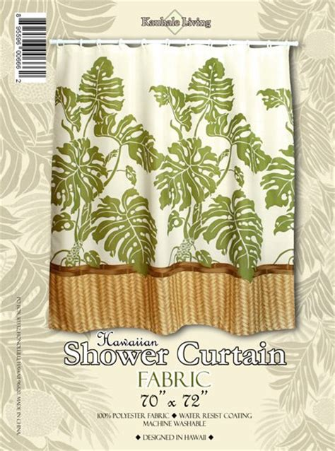 hawaiian shower curtains hawaiian tropical fabric shower curtain monstera