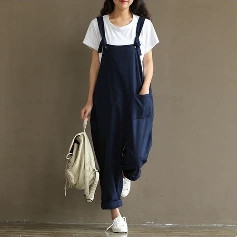 Blue Casual Leisure Sml Jumpsuit popular linen overalls buy cheap linen overalls lots from china linen overalls suppliers on