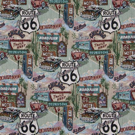 Themed Fabric Upholstery classic route 66 themed tapestry upholstery fabric by the yard