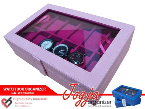 2 Packs Siomay Babi Isi 12 baby pink box organizer for 12 watches box jam