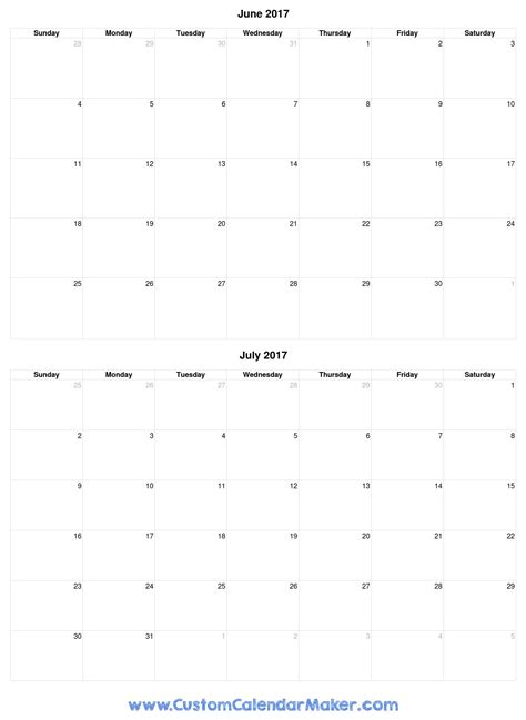 Calendar June And July 2017 Printable