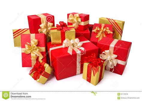 photo presents elegant gift boxes in red and gold stock photo image
