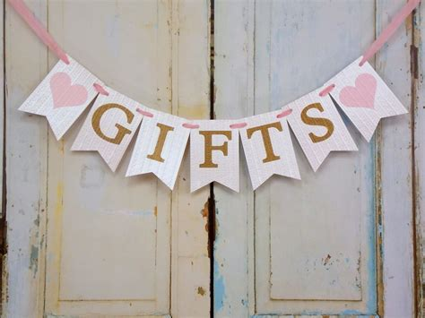 Gifts Banner with Hearts, Cream Pink and Gold Banner