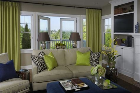 green blue living room design with gray walls paint color door green curtains