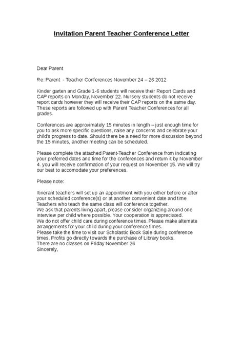 Conference Invitation Letter Template Invitation Parent Conference Letter Hashdoc