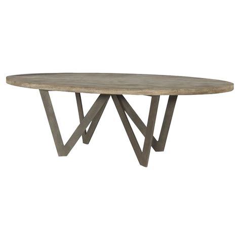 sumpter industrial rustic teak oval outdoor dining table