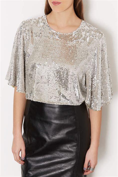sequined sleeve top topshop floaty sleeve sequin crop top in metallic lyst