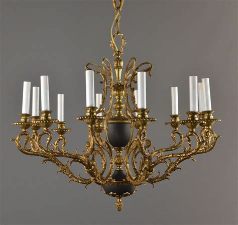 Bronze Tole Large Chandelier C1940 Vintage Antique Ceiling Chandelier