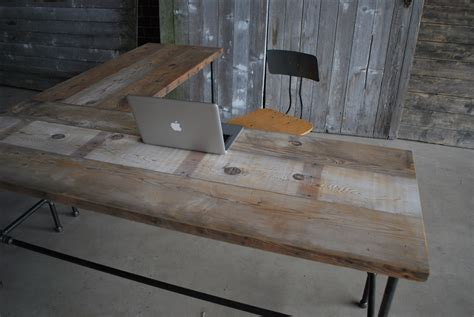L Shaped Reclaimed Wood Desk Modern Office Furniture Reclaimed Wood L Shaped Desk