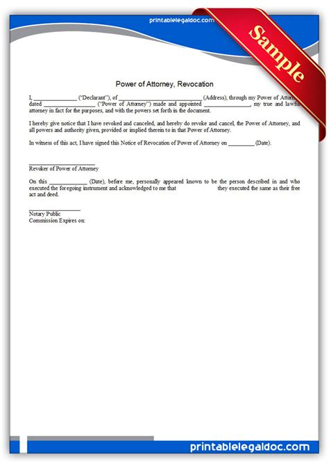 Free Printable Revocation Of Power Of Attorney Form free printable power of attorney revocation form generic