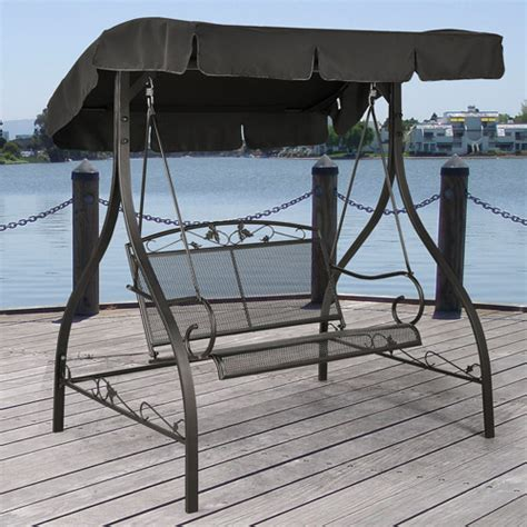 patio furniture swings mainstays jefferson wrought iron outdoor swing seats 2