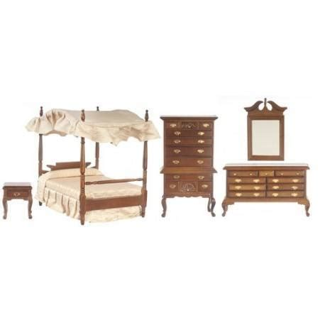 dollhouse bedroom set canopy bedroom set 5 walnut dollhouse bedroom sets