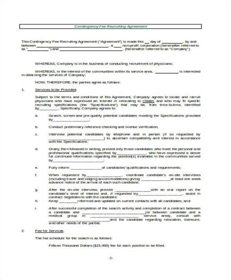 contingency agreement template contingency fee agreement template 28 images