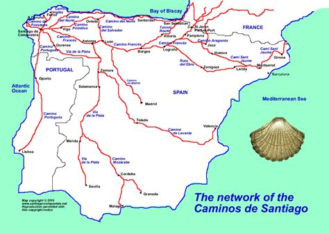 camino de santiago pilgrimage route map of the caminos to santiago de compostela places to