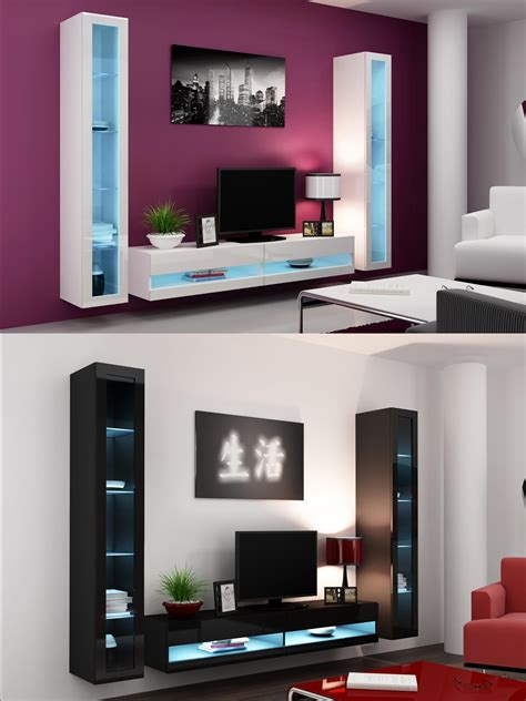 tv cabinet 90cm wide high gloss living room set with led lights tv stand wall