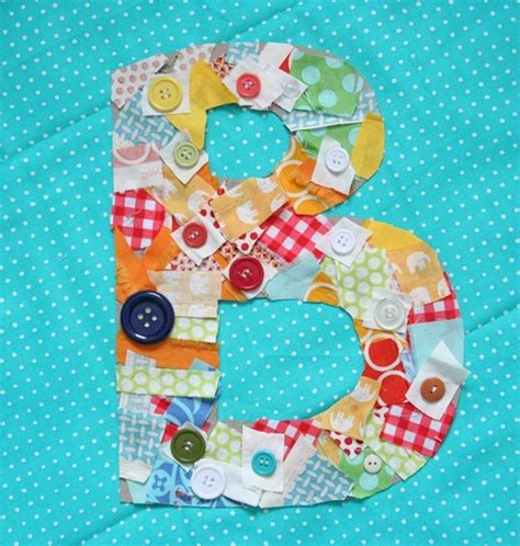fabric crafts for children monogrammed fabric scrap letters family crafts