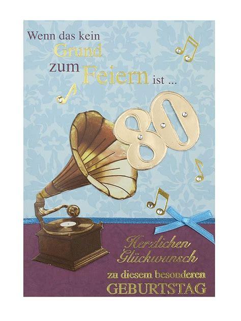 Geburtstagskarte Zum 80 Geburtstag Mit Briefumschlag Geschenkeshop Mit
