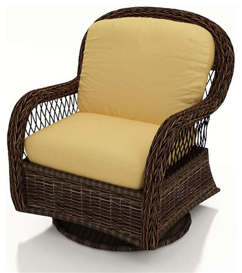 Leona Wicker Patio Swivel Glider Chair Canvas Wheat Outdoor Swivel Chairs With Cushions