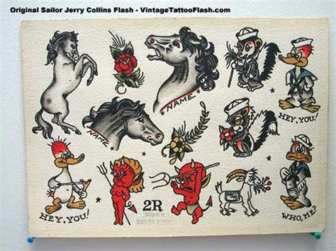 sailor jerry tattoo flash vintage flash spit shade antique