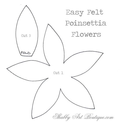 poinsettia template simply easy felt poinsettias shabby boutique