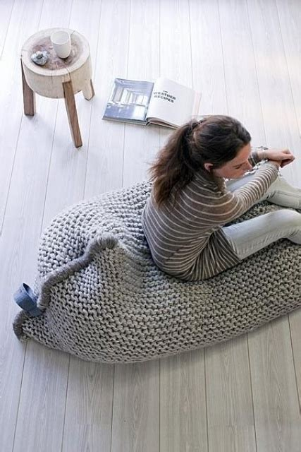 crochet pattern for bean bag chair 38 soft and cozy knitted furniture pieces for fall and