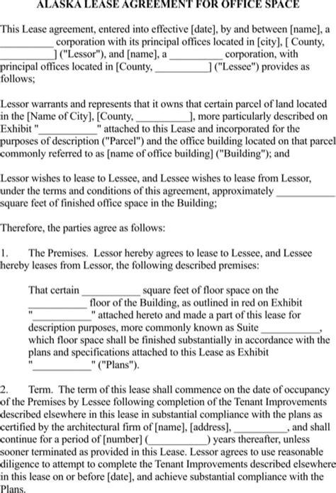 Office Space Rental Agreement Alaska Rental Agreement For Free Formtemplate