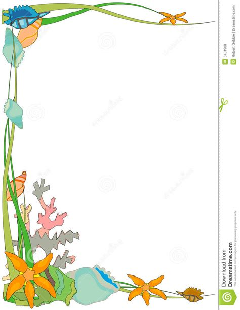 ocean border coloring page shell clipart border 3898549