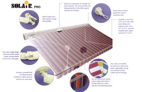 retractable awning accessories retractable solair lateral arm js canvas awnings of
