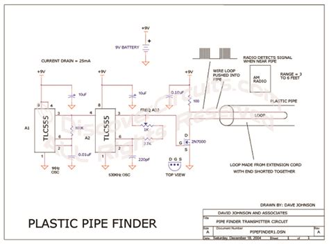 Pipi Finder Circuit Plastic Pipe Finder Circuit Designed By David A Johnson P E