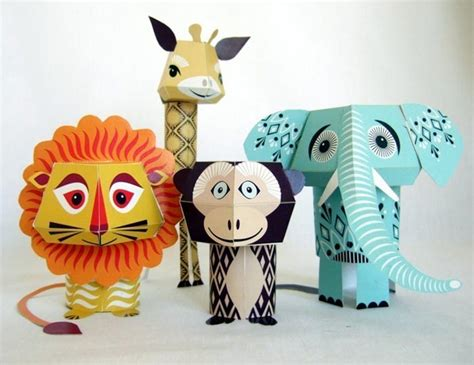Paper Craft Animals - animal paper crafts designed by mibo gadgetsin