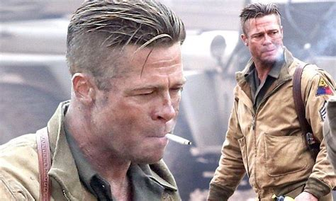 army haircut fury brad pitt smokes his way through another day on set of new