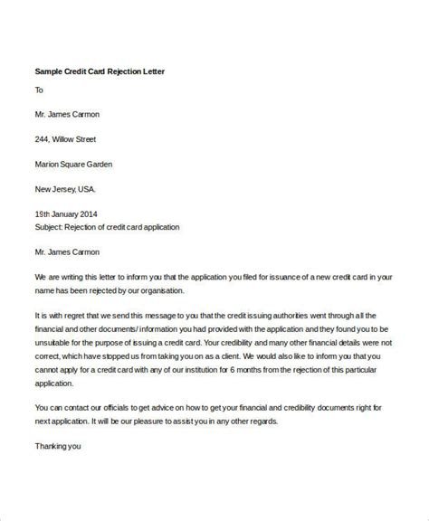 Letter To Credit Card Account Template by 8 Credit Rejection Letter Free Sle Exle Format