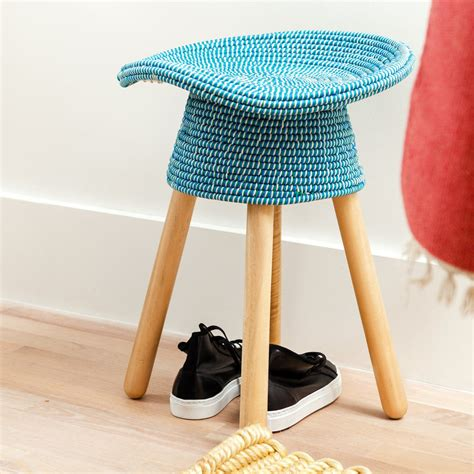 hocker blau the coiled stool by umbra in the design shop