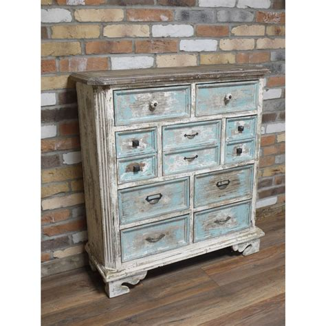 Vintage White Chest Of Drawers by Large Antique White Blue Rustic 9 Drawer Chest Of Drawers Melody Maison 174