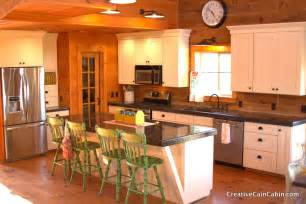 Log Home Kitchen Cabinets White Kitchen In A Log Home Creative Cain Cabin