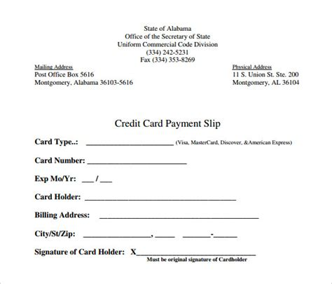 Credit Card Payment Slip Template by Slip Template 13 Free Word Excel Pdf Documents