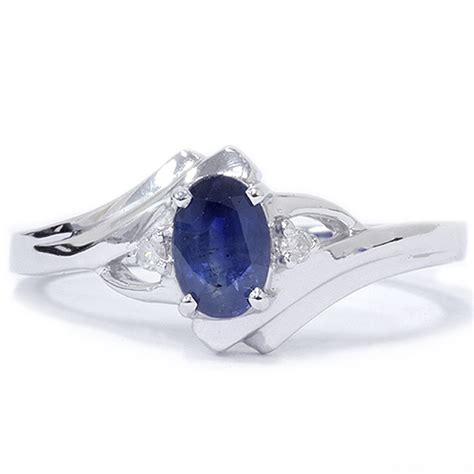 1 2ct oval blue sapphire ring 14k white gold