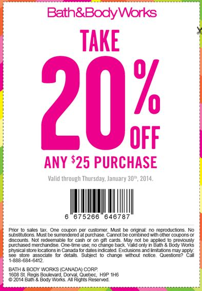 printable pers coupons canada 2014 bath body works canada printable coupons take 20 off