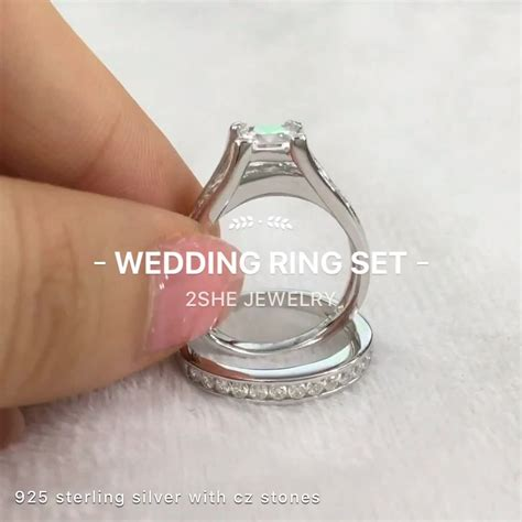 top sale 925 sterling silver engagement wedding ring set