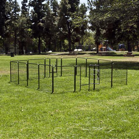 puppy fence panels 32 quot 8 panel barrier fence metal playpen kennel cage pet outdoor indoor x 2 ebay