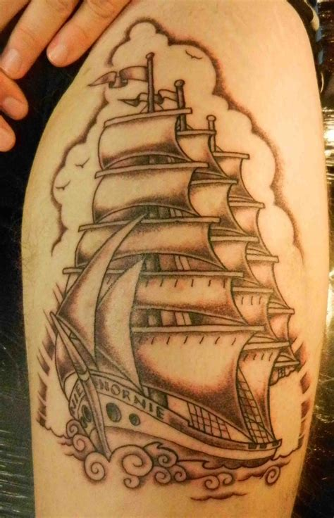 sailing ship tattoo sailing ship rigged sailing ship black and grey design