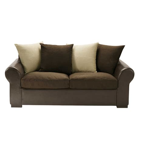 beige and brown sofa 3 seater sofa in brown beige antigua maisons du monde