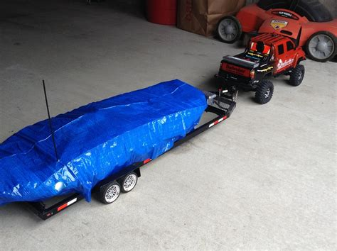 rc boat with trailer rc truck boat bike trailer combo with leds youtube