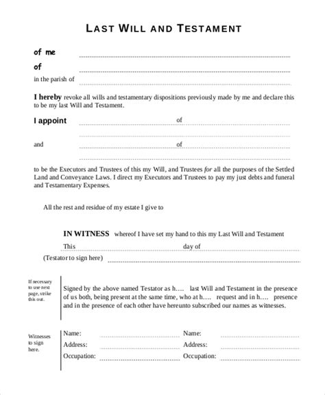 printable free last will and testament forms sle free will form 9 free documents in pdf