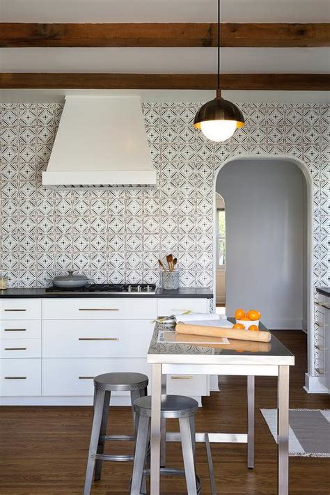 backsplash for black and white kitchen black and white quatrefoil kitchen backsplash tiles