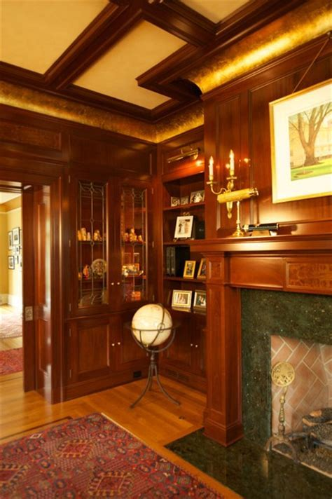 New Jersey Residence Mahogany Library with coffered