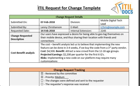 Request For Change Template Itil Docs Change Request Template
