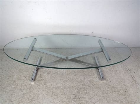 Oval Glass Top Coffee Table Oval Shaped Glass Top Coffee Table With Chrome Base For Sale At 1stdibs