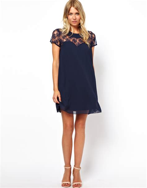 love swing dress love swing dress with lace yoke in blue forest lyst